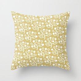 Mid Century Modern Berries Pattern Gold 2 Throw Pillow