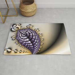 Purple and Gold Abstract Design Rug