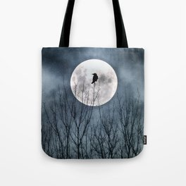 Night Raven Lit By The Full Moon Tote Bag