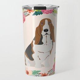 basset hound floral wreath dog gifts pet portraits Travel Mug