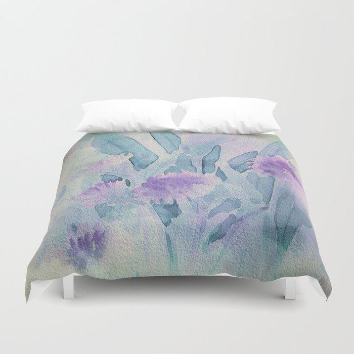 Heavenly Lavender Water Color Floral Duvet Cover
