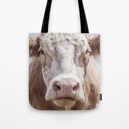 Animal Photography | Cow Portrait Colour | Minimalism | Farm Animals Tote Bag