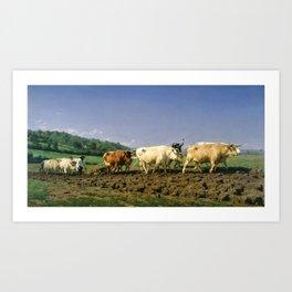 Rosa Bonheur - Plowing Nivernais - Digital Remastered Edition Art Print
