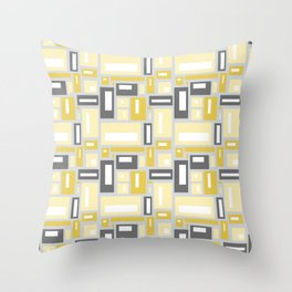 Simple Geometric Pattern in Yellow and Gray Throw Pillow
