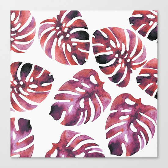 Monstera Red Canvas Print