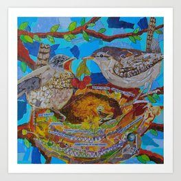 Two Birds In Colorful Nest With Quotes About Wrens Art Print