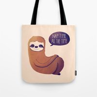 nan lawson Tote Bags featuring Nap Time All The Time by Nan Lawson