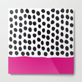 Modern Handpainted Polka Dots with Pink Metal Print