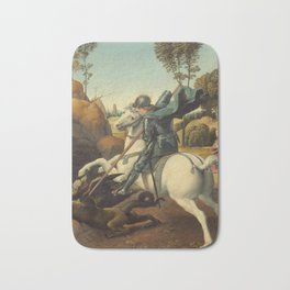 Saint George and the Dragon Oil Painting By Raphael Bath Mat
