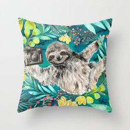 Sloth with Camera Throw Pillow