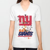 giants V-neck T-shirts featuring ny giants by Dan Solo Galleries