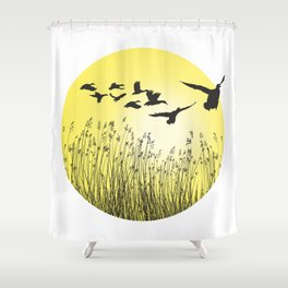 Mallards and reeds in the ring Shower Curtain