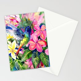 Hummingbird and Plumeria Florwers Tropical bright colored foliage floral Hawaiian Flowers Stationery Cards