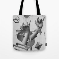 hands Tote Bags featuring Hands by Oh Yeah Studio