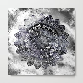 Galaxy Space Mandala (Black and White & Gray Scale) Mystical Adventurous Metal Print