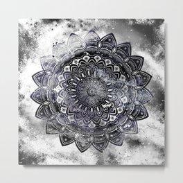 Galaxy Space Mandala (Black and White & Gray Scale) Mystical Adventurous Metal Print