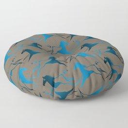 Blue Brown War Horse Floor Pillow