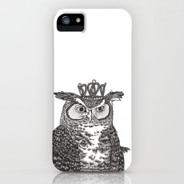 Great Horned Owl Wearing a Glittering Crown iPhone Case