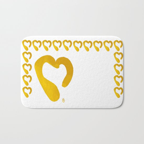 Gold Hearts on White - Love is Golden Bath Mat