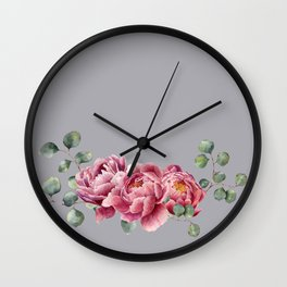 Watercolor Peonies Sprig Wall Clock
