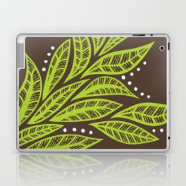 Floral tropical green leaves on brown background Laptop & iPad Skin