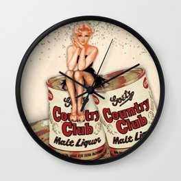 Miss Goetz Fancied Herself A Country Club Girl | Vintage Pin Up Girl Collage Wall Clock
