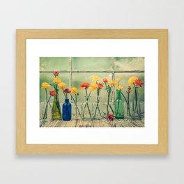 Ranunculus, Bottles and Window Still Life Framed Art Print