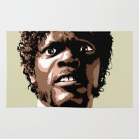 pulp fiction Area & Throw Rugs featuring Samuel Jackson, Pulp fiction by Angry Snowflake