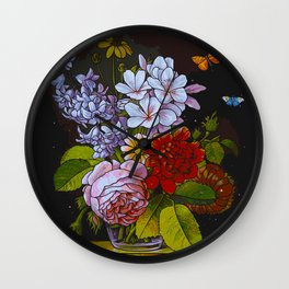 Floral Still Life (Painting) Wall Clock