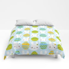 Kawaii Easter Bunny & Eggs Comforters