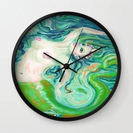 PAINTING Art Print by  Anna saucier goddess nude mermaid under water swimming , Wall Clock