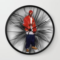 2pac Wall Clocks featuring Big L  by Gold Blood