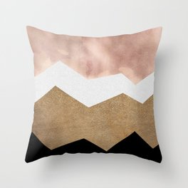 Golden Stormy Mountain No.2 Throw Pillow