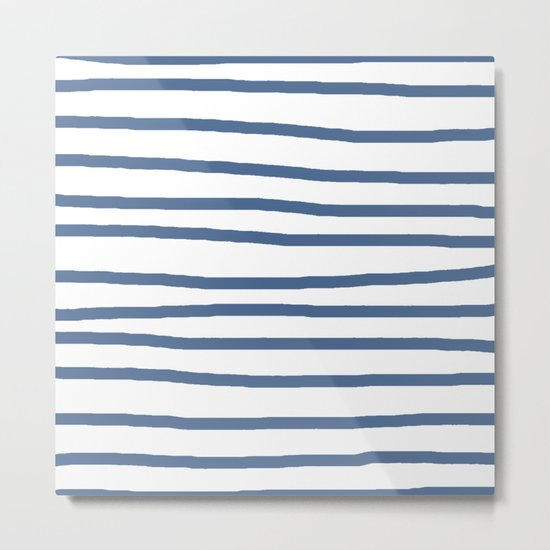 Simply Drawn Stripes in Aegean Blue and White Metal Print