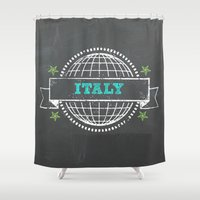 italy Shower Curtains featuring Italy by My Little Thought Bubbles