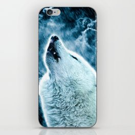 A howling wolf in the rain iPhone Skin