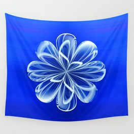 White Bloom on Blue Wall Tapestry