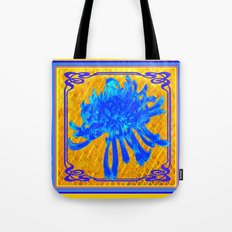 ABSTRACT BABY BLUE SPIDER MUM ON GOLD PATTERN FLOWERS Tote Bag
