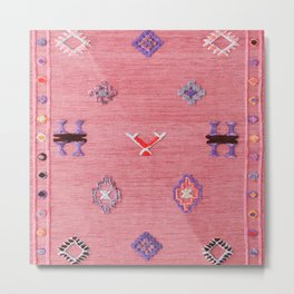 Pink Oriental Traditional Boho Moroccan Style Design Artwork Metal Print