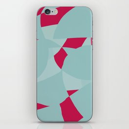 Dusty Pale Blue and Vibrant Magenta Abstract Graphic iPhone Skin