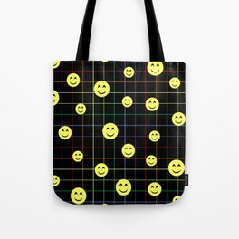 Colorful Smiley Emoji 4 - black Tote Bag
