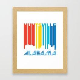 Retro 1970's Style Huntsville Alabama Skyline Framed Art Print