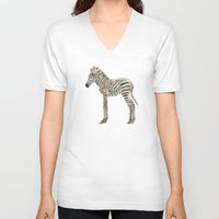 zebra V-neck T-shirts featuring zebra by bri.buckley