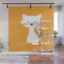 Yellow white cat Wall Mural