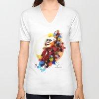 lama V-neck T-shirts featuring Dalai Lama by Rene Alberto