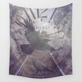 Crow Railroad Tracks Clock Fantasy Endless Rail, She Said A738 Wall Tapestry