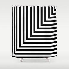Black and White L Stripes // www.pencilmeinstationery.com Shower Curtain
