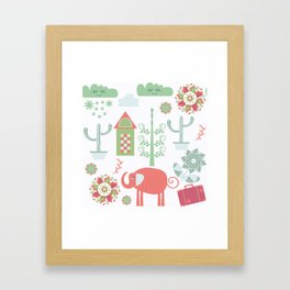 Travel pattern 4v Framed Art Print