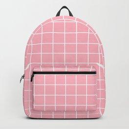 Light pink - pink color - White Lines Grid Pattern Backpack