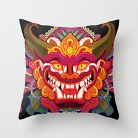 bali Throw Pillows featuring Bali Mask by Aïda de Ridder
